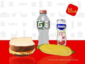 Isotônico, Iogurte 170ml, Sanduíche Natural e Banana.