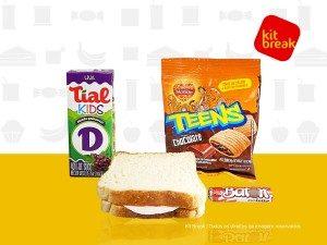 Suco 200ml, biscoito doce e sanduíche.