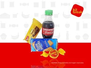 Kit Lanche com Coca-Cola, Club Social, Biscoto Wafer, Bombom Serenata do Amor.