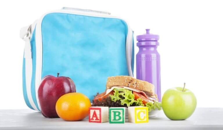 lancheira infantil com frutas, sanduíche e água.